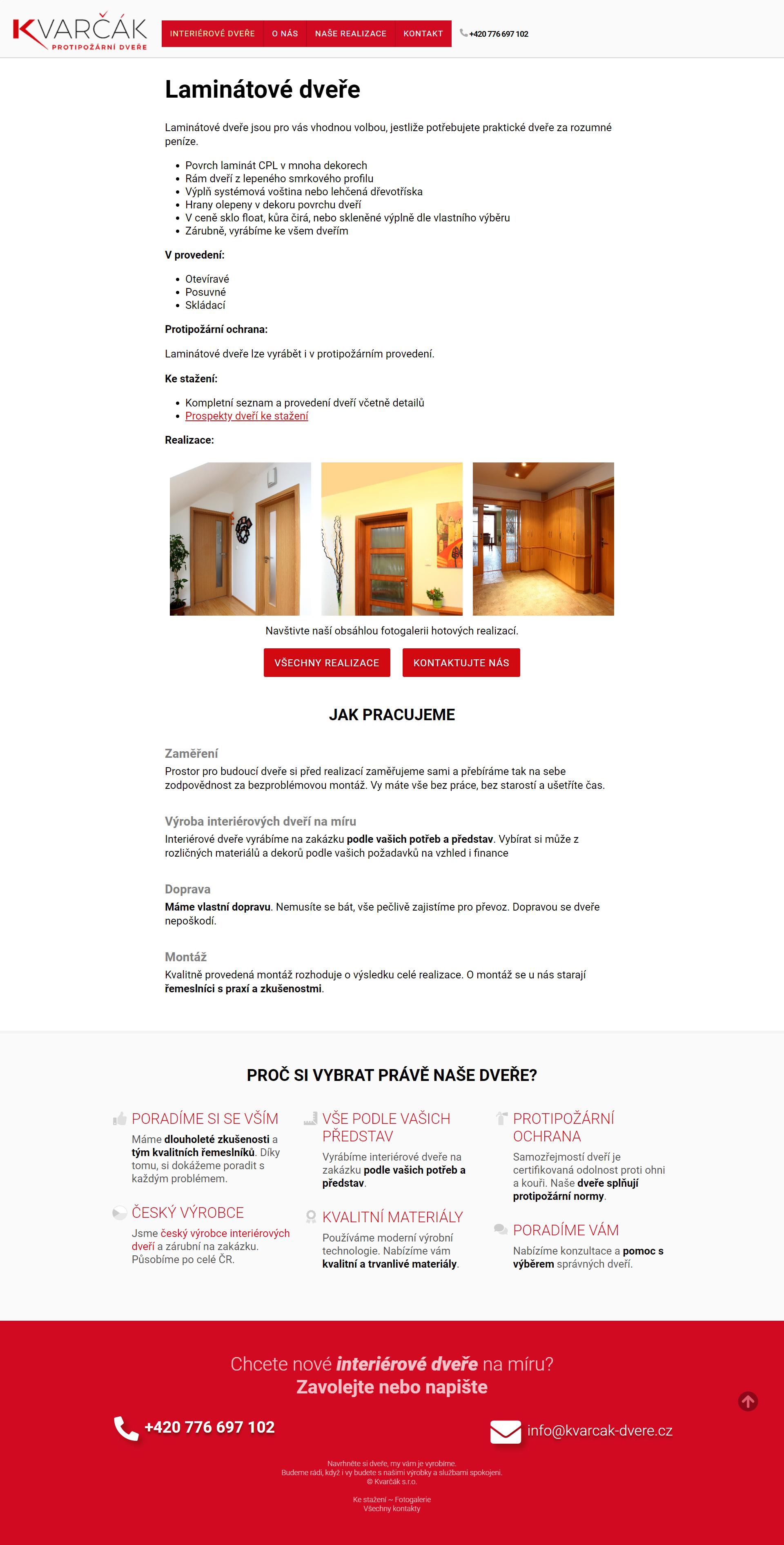 Kompletní tvorba webu kvarcak-dvere.cz a nasazení na redakční systém WordPress.