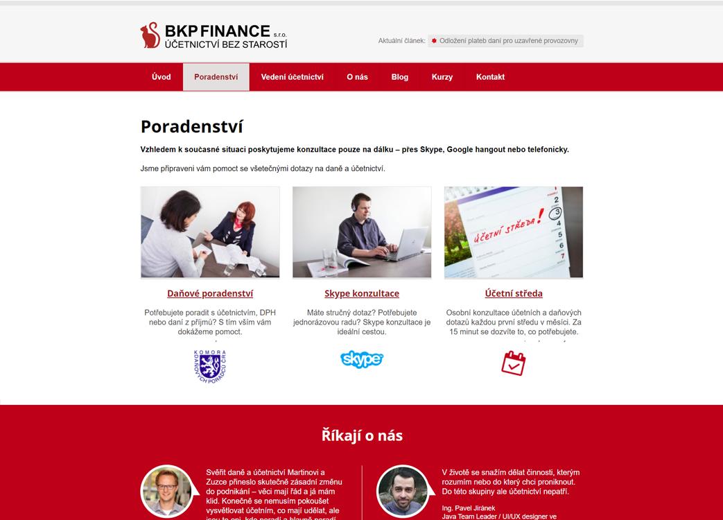 Tvorba webu bkpfinance.cz