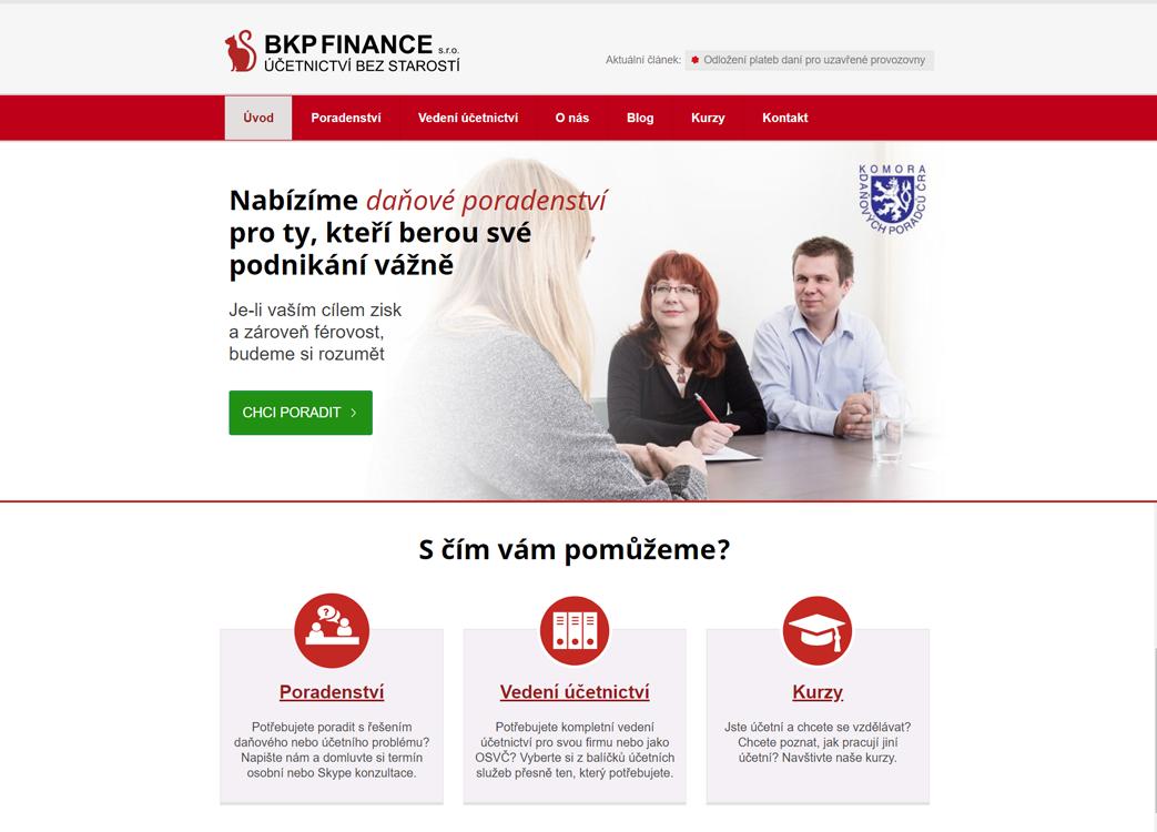 Redesign stávajícího webu BKP FINANCE.