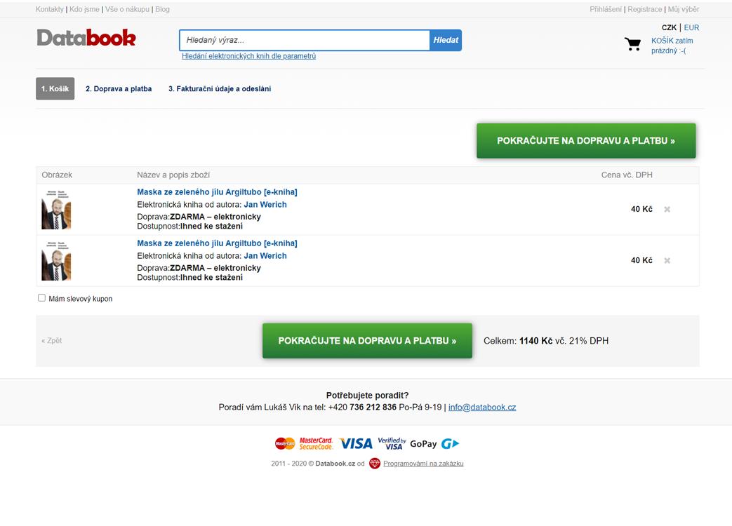 Kompletní tvorba eshopu Databook.cz