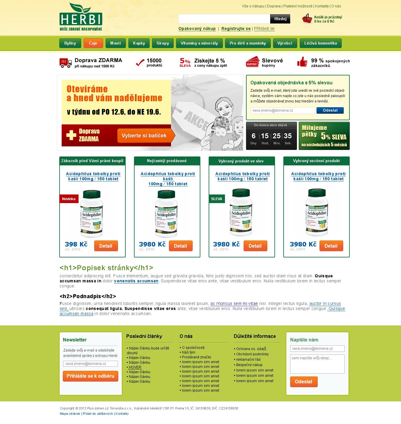 Návrh pro e-shop herbi.cz (2013)