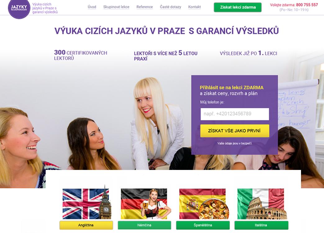 Návrh webu jazyky na doporučení