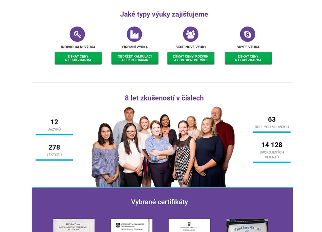 Grafický návrh www stránek pro Jazyky na doporučení