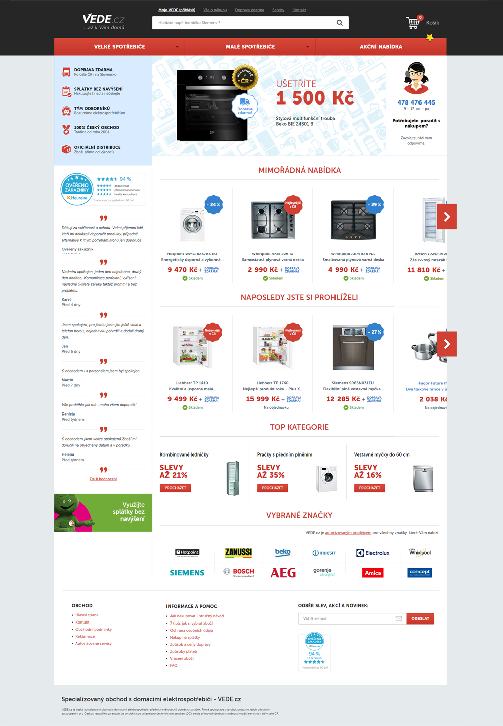Tvorba e-shopu vede.cz, implementace CSS3 šablon